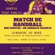 Affiche de collecte de fonds avec match de foot d'exposition, jaune et violette